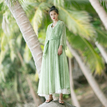 MM145 New Arrival Spring Summer 2017 women outwear belted long maxi shirt thin vintage cardigan