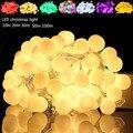 2X LED Luz 10 m 100 led AC 220 V iluminación Al Aire Libre secuencia de la Bola LED de la lámpara de Navidad de la boda de hadas del jardín colgante bombilla