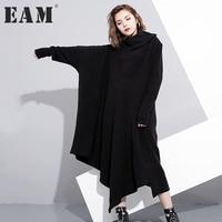EAM 2018 Lapel Knitting Solid Dress Spring New Pattern Long Sleeve Irregular All Match Loose