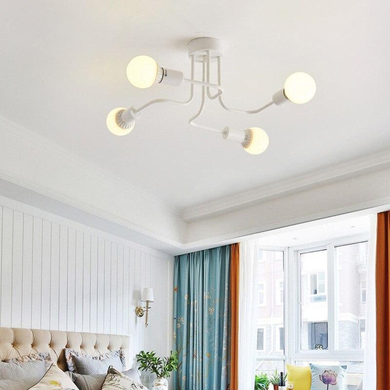 European Four E27 Bulb Iron Chandeliers Living Room White/black Led Lamps Modern Chandelier Lighting Led Lustre Lighting Lamps 5