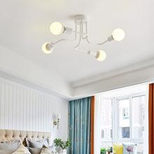 European four E27 bulb iron Chandeliers living room white black led lamps modern Chandelier lighting led lustre lighting lamps 5 cheap TOMDA CN(Origin) None 90-260V 120V 110V 220V 110-240V 230V 130V Shadeless Flush Mount 3 years LED Bulbs