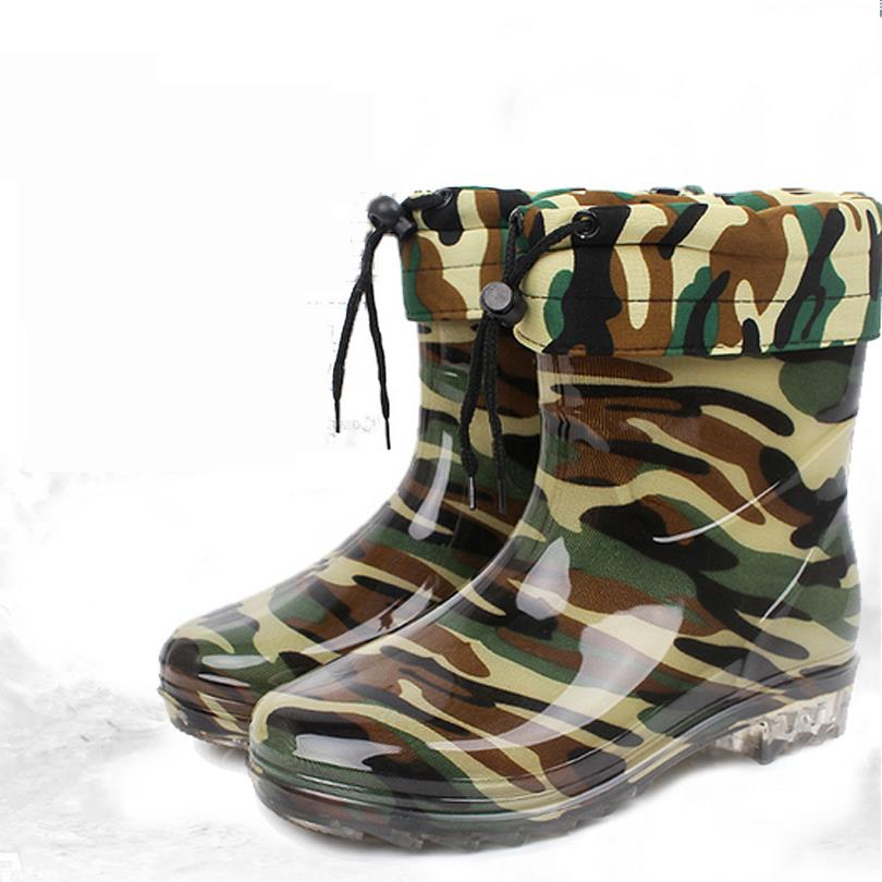 2016 new medium b m pvc rainboots with camouflage winter for Waterproof fishing shoes