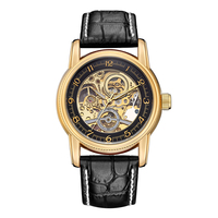 ORKINA Automatic Skeleton Mechanical Watch Men Luxury Gold Case Black Leather Luminous Self winding Man Wrist Watches
