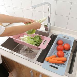 Image 5 - Regulowany zlew woda filtracja Rack Organizer do kuchni zlew z tworzywa sztucznego kosz spustowy warzywa koszyk na owoce regał magazynowy