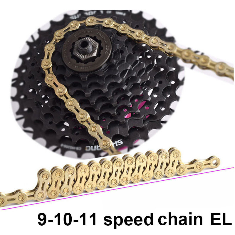 Chaîne de vélo ajourée couleur or, 9, 10, 11 rapports, 116 maillons, EL, ultraléger, Variable 27, 30, 33 vitesses