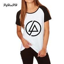 Новинка, модная женская футболка с геометрическим принтом, летняя футболка с рукавом реглан, дизайн Linkin Park, топы, модная новинка, женская футболка