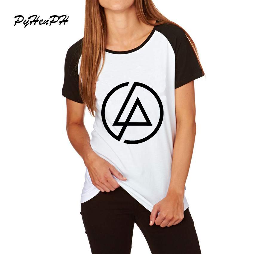2017 Newest Fashion Women's Geometric Print T-shirt Summer Raglan Sleeve Linkin Park Design Tops Fashion Novelty Lady T Shirt