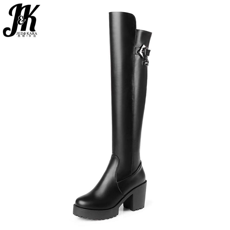 J&K Square High Heels Over the Knee Boots for Women Pu Flock Short Plush Winter Boots Zipper Platform Shoes Woman Knight Boots yougolun woman nubuck winter over the knee snow boots 2018 women thigh high boots ladies square heels thick plush warm shoes