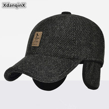 XdanqinX Autumn Winter Men's Warm Hat Woolly Thick Baseball Caps With Ears Adjustable Size Ear Cap For Men Snapback Cap Dad Hats