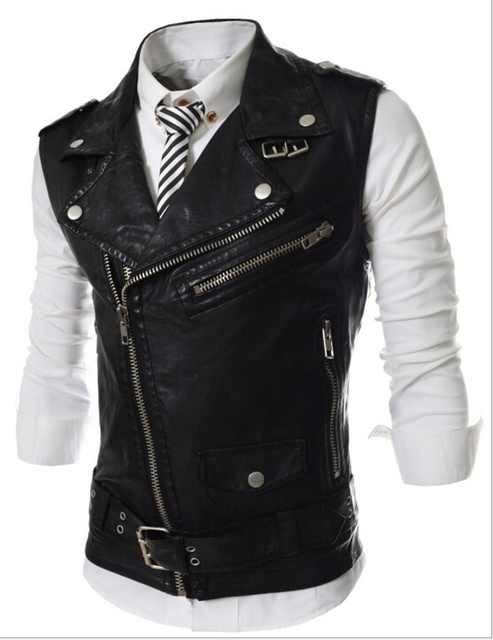 2016 New Arrival Men's Casual Multi Zipper Leather Vest Short Design Turn-Down-Collar Slim Vest