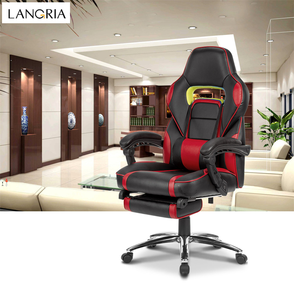 LANGRIA Ergonomic High-Back Faux Leather Racing Style Reclining Computer Gaming Executive Office Chair with Padded Footrest and Lumber Cushion08