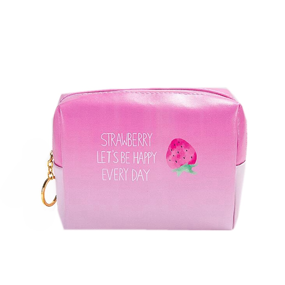 Large Capacity Strawberries Cosmetic Bag Necessaire Cute PU Make Up Bag Women Travel Bag Zipper Toiletry Kit in Cosmetic Bags Cases from Luggage Bags
