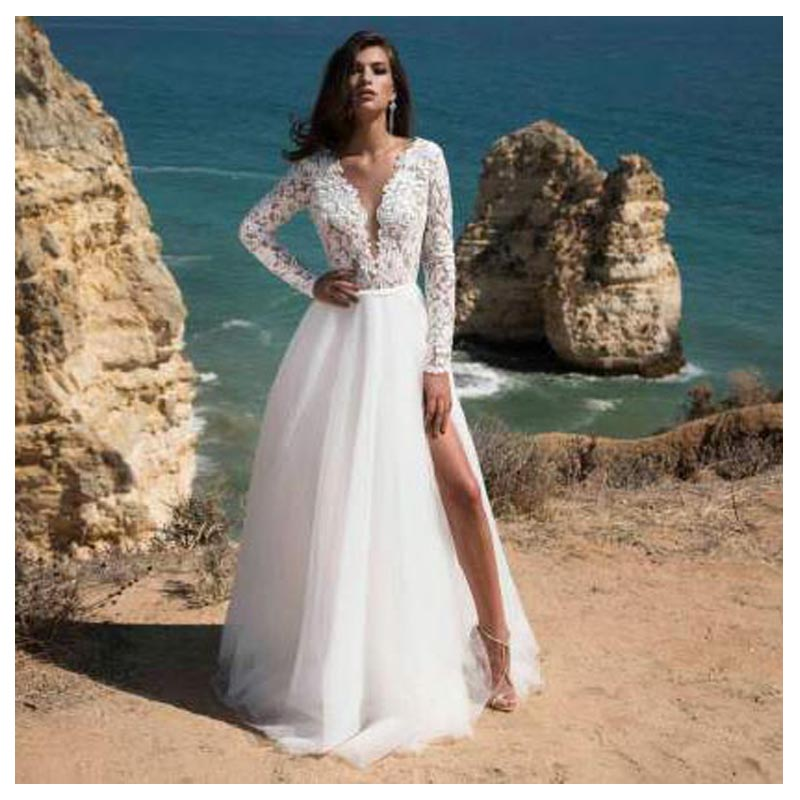 LORIE Long Sleeves Boho Wedding Dress 2019 Backless Side Split Appliques Lace A Line Tulle Vintage Bride Dresses Wedding Gown