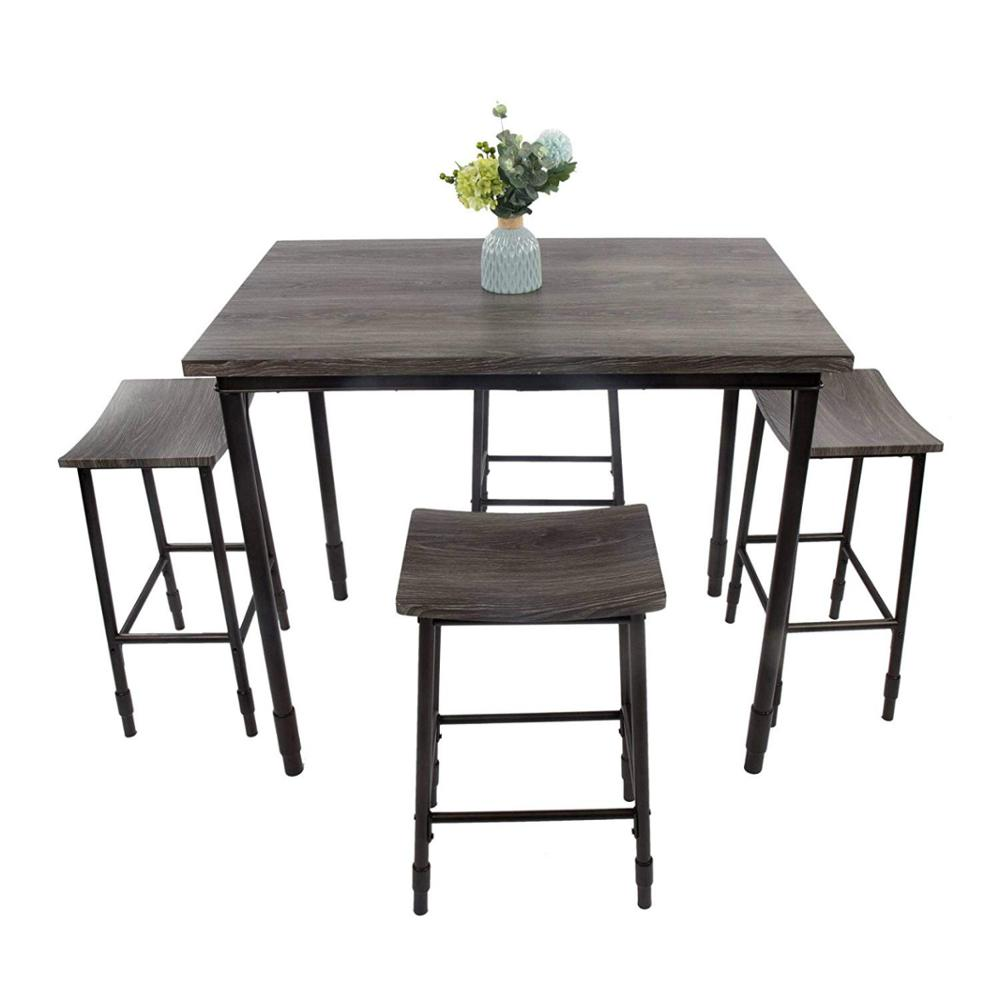 5 Piece Dining Set Wooden Kitchen Table And Chairs With