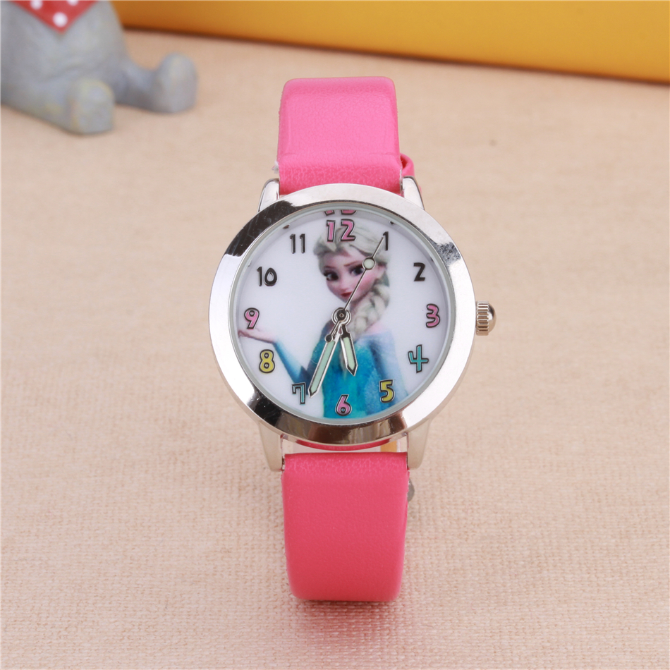 Queen Cartoon Watches ELSA Princess Children Kids Students Girls Leather Quartz Wrist Watch Pink Red White Color Clock relogio fashion brand children quartz watch waterproof jelly kids watches for boys girls students cute wrist watches 2017 new clock kids