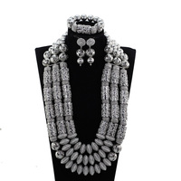 Fantastic Silver African Wedding Jewelry Set Copper Accessory Heavy Bold Statement Necklace Set Big Women Jewellery Set WE190