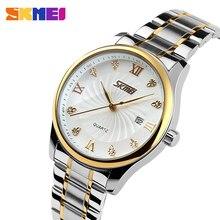 Skmei moda masculina relógios de pulso de quartzo pulseira de aço inoxidável relógios de negócios de luxo de marca superior 9101
