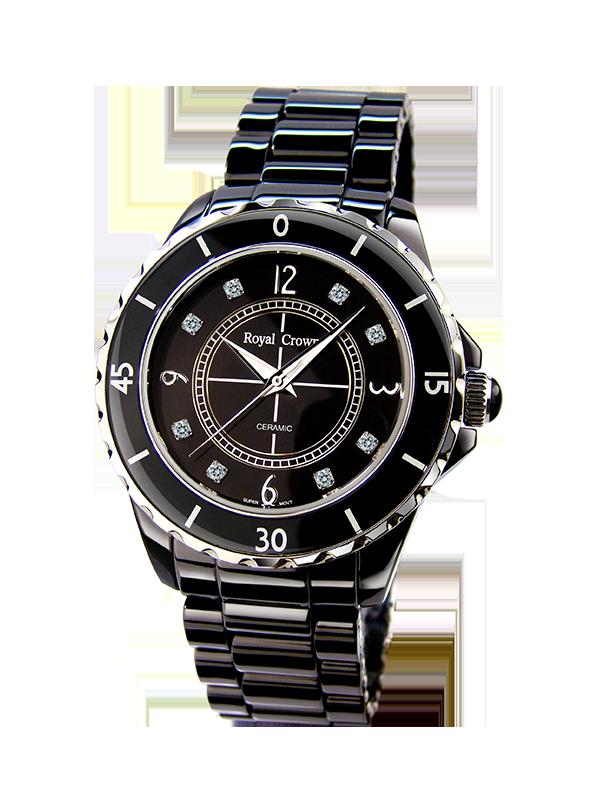 Royal Crown Jewelry Watch 3821M-5 Italy brand Diamond Japan MIYOTA J12 ceramic Luxury Crystal Leopard Ladies Quartz Female royal crown jewelry watch 6413lc italy brand diamond japan miyota ceramic happy new year quartz crystal hour fine fashion clock