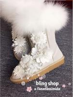 New winter leather flower heavy work beaded magic doll real fox fur pearl light leather increase female snow boots