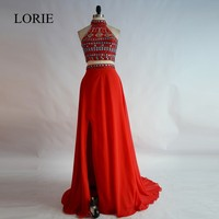 Red 2 Piece Prom Dresses 2017 Pageant Dresses To Party High Neck Rhinestone Formal Real Chiffon Long Evening Dresses