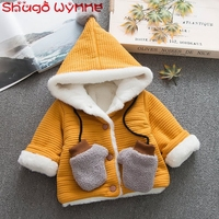 Winter Warm Baby Boys Thicken Cotton Fleece Hooded Casual Jackets Children Kids Outerwear Girls Coats casaco