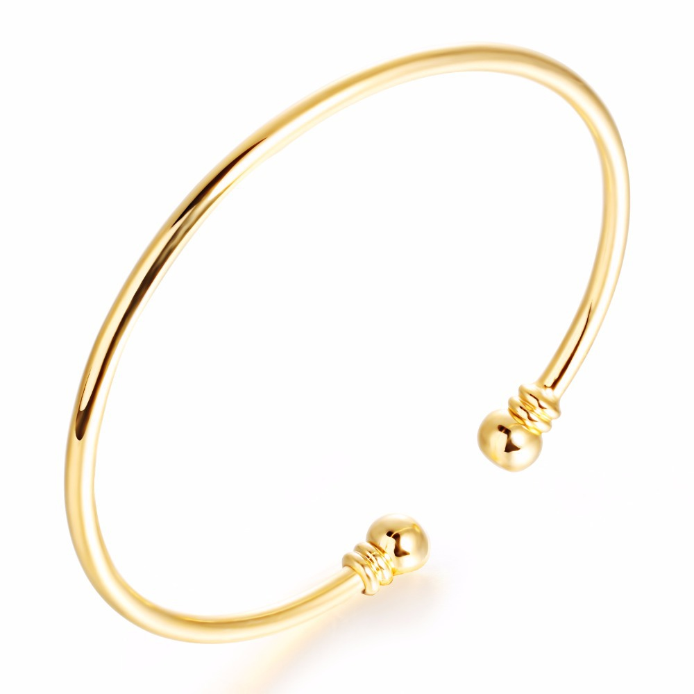 Gold color bangle vintage jewelry bracelets bangles simple open ...