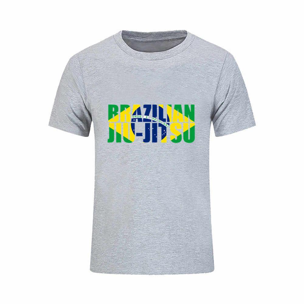 fce61aa2 Hipster T Shirt Brazilian Jiu Jitsu BJJ Men's T-shirt Brazil flag Cotton  Plus Size