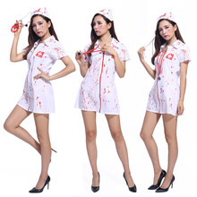 7ea159c85a70e Halloween costume adult female nurse sexy bloody horror masquerade suit  nurse Doctor Role Play Costumes(