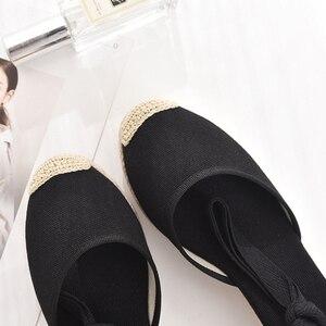 Image 2 - 5 סנטימטר עקב טריז נשים 2019 קיץ נעלי בד סנדלי