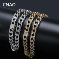 JINAO Hip Hop Jewelry 16mm Miami Cuban Chain Micro Pave Cubic Zirconia Necklace Full Iced Out Chain Gold Silver Bling Male Gifts