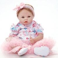 55 см Детские спальные Куклы Силиконовые Кукла реборн для девочки и мальчика раннего образования куклы розовый принцессы подарок на день ро