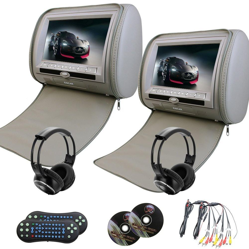 Eincar 2pcs 9 inch LCD Dual Screen car monitor Headrest DVD video player USB/SD/MP3/MP4 Support 32 bit Games FM +2 IR headphones eincar car 9 inch car dvd pillow headrest two monitor lcd screen usb sd 32 bit game fm ir multimedia player free 2 ir headphones