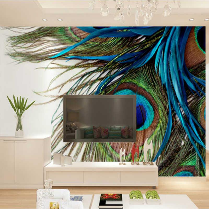 Modern Kreatif Bulu Merak Foto Mural Wallpaper Sofa Ruang Tamu Ruang Makan Fashion Dinding Kain Rumah Dekorasi Dinding