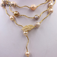 Free Shipping Lavender Edsion FW Pearl Beads Gold Color Leaf Clasp Lady Jewelry Statement Necklace 9 10mm 60