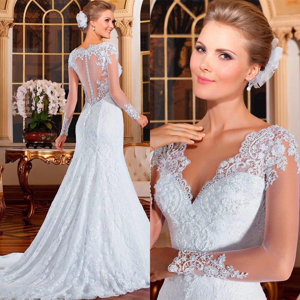 Mermaid Bridal Dress Lace Organza Tulle Long Sleeve Floral Deep V-Neck Plus Size Trumpet Summer Wedding Dress