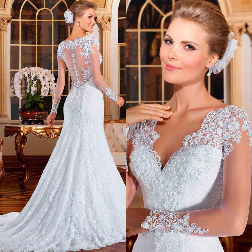 בת ים כלה שמלת תחרה אורגנזה טול ארוך שרוול פרחוני עמוק V-צוואר בתוספת גודל חצוצרת קיץ חתונה שמלה