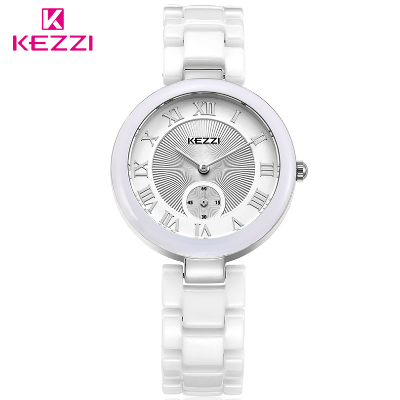 KEZZI Brand Fashions Luxury  Women's Ceramic Quartz Watch Women Dress watches Ladies Roman Numerals Dial Clock Gift Reloj Mujer excellent quality geneva watch women watches reloj mujer dropship 2017 casual roman numerals pu leather mechanical clock luxury