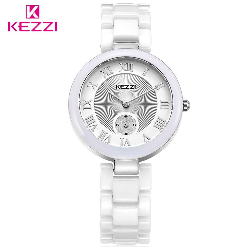 8dbb12e649c0 Kezzi marca de lujo de cerámica de cuarzo reloj mujeres relojes números  romanos dial reloj regalo reloj Mujer