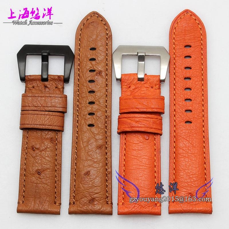 Ostrich leather strap bracelet male adapter PAM111 24MM black