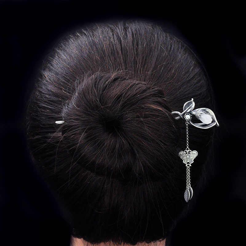 فراشة استرخى الشعر عصا اللؤلؤ الخرز دبوس 925 فضة مجوهرات الحجر الحقيقي الصينية اليدوية العرقية النساء الشعر دبابيس