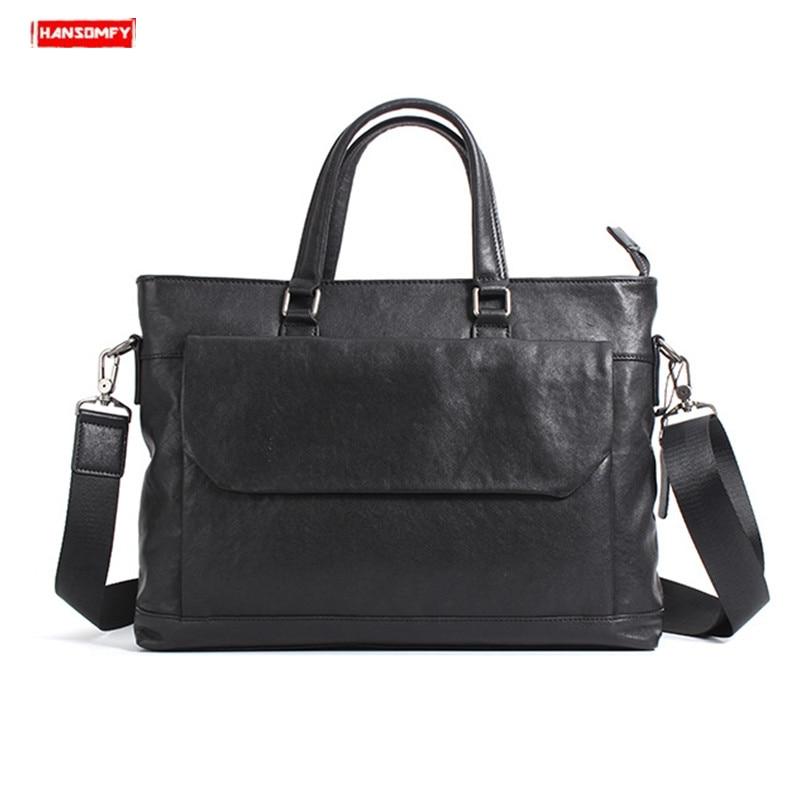 New soft black Cowhide leather men's business handbag cross section laptop briefcases genuine leather shoulder computer bags