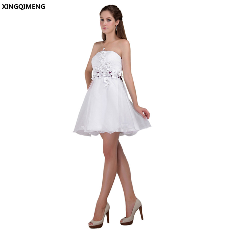 Sexy Strapless White Cocktail Dresses Flowers Cocktail Dress Short