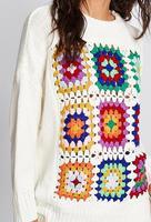 2018 nieuwe handgemaakte gehaakte O-hals truien katoen stof patroon borduren BOHO trui gebreide truien mode dikke bovenkleding