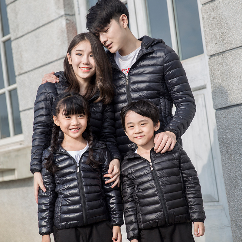 Family Winter Down Jackets Warm Hoodie Coat Father Mother Kids