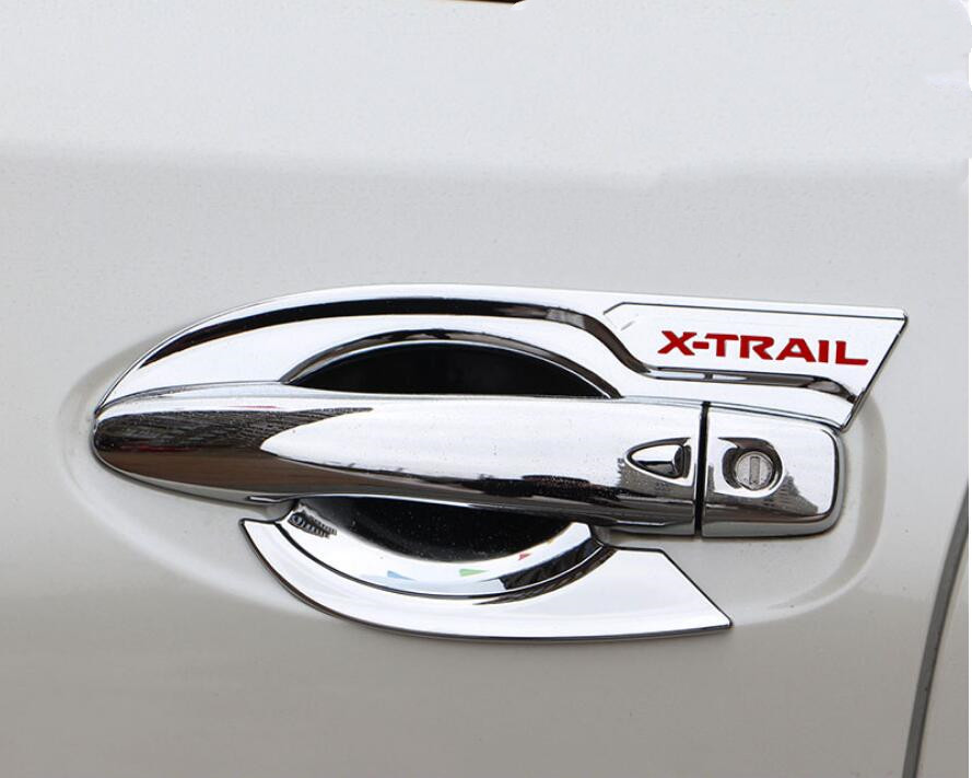 ABS chrome Car styling <font><b>door</b></font> <font><b>handle</b></font> cover <font><b>door</b></font> <font><b>handle</b></font> bowl trim for <font><b>Nissan</b></font> <font><b>x</b></font>-<font><b>trail</b></font> t32 rogue xtrail 2014-2019 car accessories image