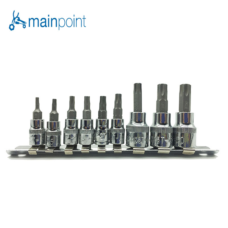Mainpoint hot sale 9pc Tamper Proof Torx Star Bit Socket Set 1/4 & 3/8 Drive T10 - T50 mainpoint hot sale 13pc torx star bit socket nuts set 1 4 3 8 and 1 2 drive t8 t70
