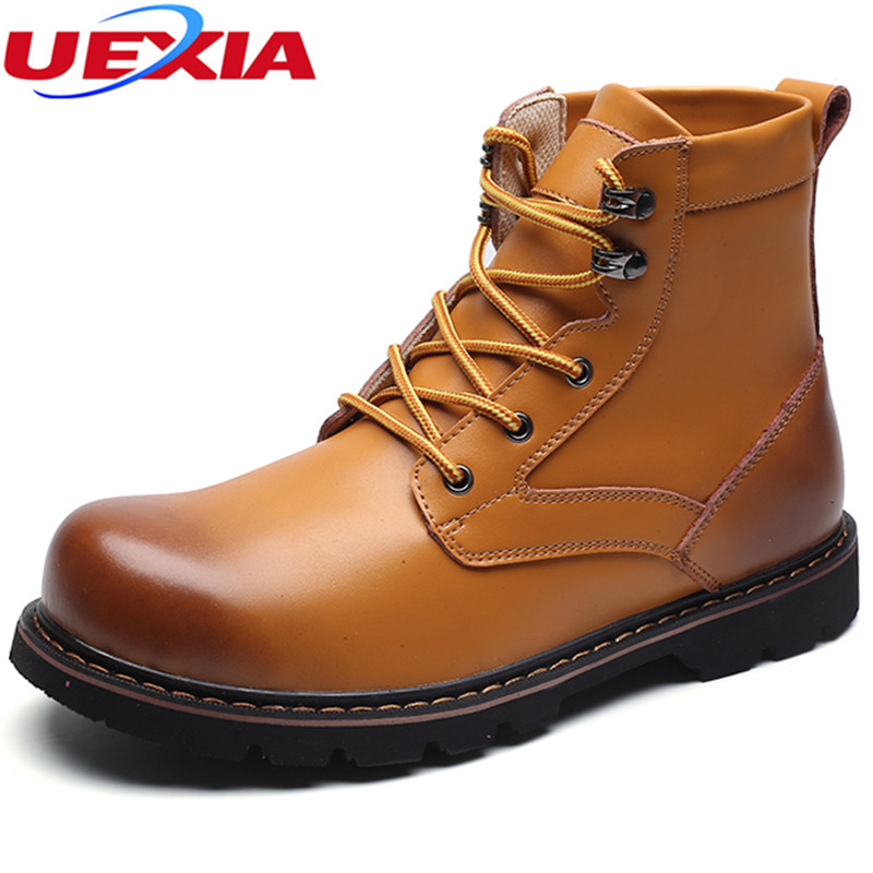 UEXIA New Leather Men Boots Fashion Unisex High Top Martin Motorcycle Boots Men Shoes Botas Masculina Tooling Casual Work Dress zosuo men boots buckle desert british male boots leather martin boots tide retro tooling men s shoes zs337