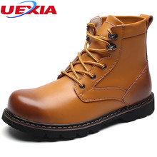 UEXIA New Leather Men Boots Fashion Unisex High Top Martin Motorcycle Boots Men Shoes Botas Masculina Tooling Casual Work Dress