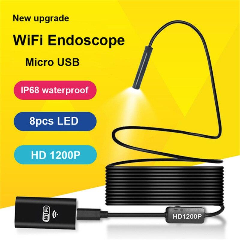все цены на Lerbyee Wifi Endoscope HD 1200P Camera IP68 Semi Rigid Tube Micro USB Endoscope Wireless Borescope Inspection for Android iOS онлайн
