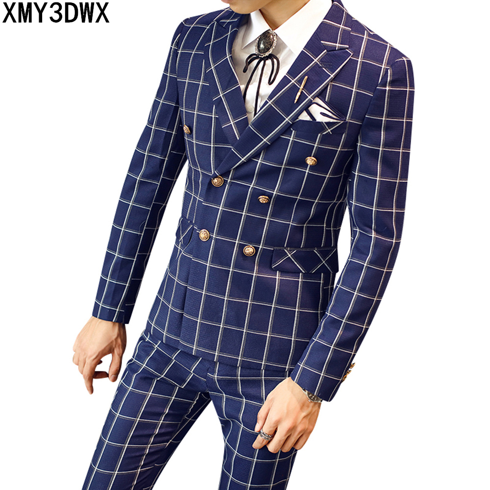 3 Piece Men Plaid Wedding Suit Male Classic Fashion Double Breasted Groom Tuxedos Blue Business Suits (Jacket+pants+vest)